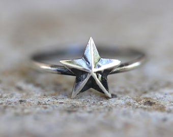 Star Ring Sterling Silver Star Ring Sterling Silver Stacking Ring Silver Stacking Rings Silver Star Rings Star Jewelry Dainty Ring