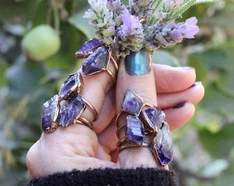 Raw Amethyst Ring Raw Crystal Ring Raw Crystals and Stones Amethyst Crystal Ring Bohemian Ring Raw Stone Ring Amethyst Jewelry Raw Crystals