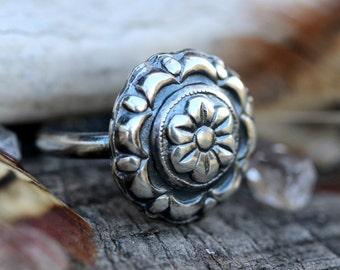 Sterling Silver Flower Ring Sterling Silver Ring Sterling Silver Stacking Ring Sterling Silver Stackable Ring Concho Ring Silver Ring