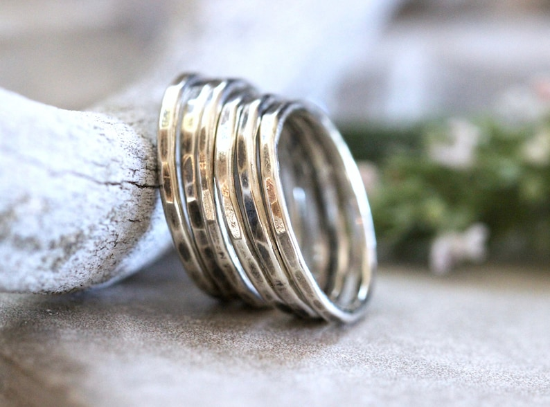 626cd39f69531 Hammered Silver Rings Silver Stacking Ring Simple Silver Ring Stackable  Silver Rings Silver Stacking Rings Stackable Rings Thin Silver Ring