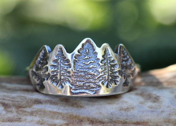 Silver Forest Jewelry Nature Inspired Ring nature jewelry Woodland Ring Forest Ring in Sterling Silver Silver Tree Ring Pine Tree Ring