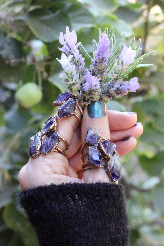 Raw Amethyst Ring Raw Crystal Ring Raw Crystals And Stones Amethyst Crystal Ring Bohemian Ring Raw Stone Ring Amethyst Jewelry Raw Crystals by Etsy