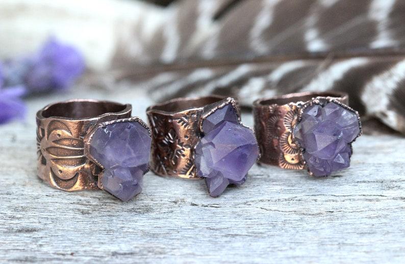 Copper ring natural quarts crystal Raw crystal ring Geode ring natural ring Organic ring ready to ship Natural crystal ring