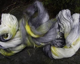 Sock Yarn Hand dyed Bundle, handpainted Merino silk sparkle kid mohair 3 skeins-Silver and Citrine