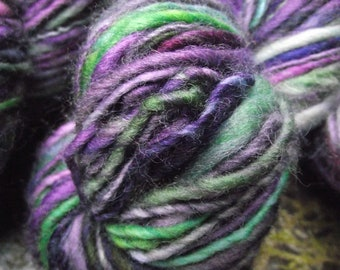 Handspun, handpainted  wool yarn, thick and thin, worsted bulky-Wicked