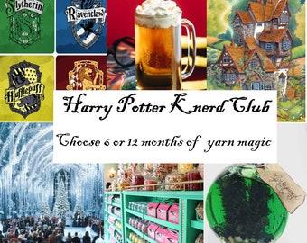 Harry Potter Sock Yarn Club Membership, Sci Fi Fantasy Hogwarts Handpainted sock yarn 6 months of yarn magic