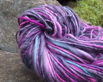 Handspun yarn, handpainted wool Bluefaced Leicester BFL worsted large skein available-New Wave