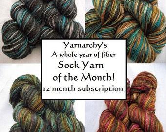 Sock Yarn Club Membership, Handpainted sock yarn Full Year of yarn, free shipping