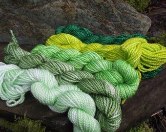 Yarn kit Merino wool Baby alpaca, Silk ,hand dyed DK sport yarn kit--Green Man