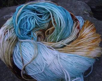 Handpainted sock yarn, fingering yarn, Superwash Fine Merino Nylon, 100 grams-Delos