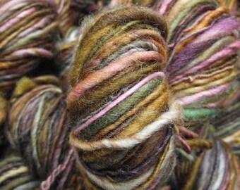 Handspun yarn, Handpainted Single Ply Polwarth wool yarn, thick and thin-Laccaria amethystea
