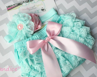 Newborn Lace bloomer set { CANDICE } aqua pink Diaper cover, flower Headband,  baby girl photography baby shower Ready to ship