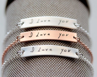Handwriting Bracelet / Handwriting Jewelry / Custom Engraved Handwriting Bracelet / Signature Bracelet / Mothers Day Gift / Handwriting Gift