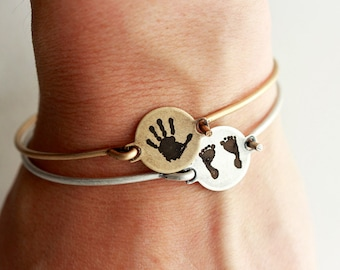 Hand Print Bracelet - Custom Engraved Bracelet, Actual Foot Print, Memorial Bracelet, Memorial Jewelry, Children's Hand, Hand Print Keepsake