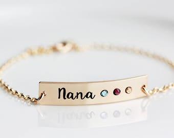 Birthstone Bracelet - Thick Personalized Bar Bracelet, Engraved Birthstone Nameplate, Personalized Gift for Mom, Grandma Gift, Birthstones