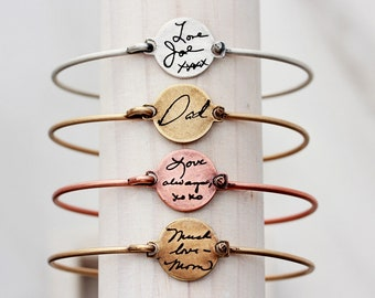 Handwriting Bracelet - Custom Engraved Handwriting Bracelet, Handwriting Bangle, Signature Bracelet, Handwriting Gift, Actual Handwriting