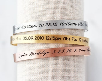 Birth Stat Cuff Bracelet - Personalized Mother's Day Gift, New Mom Gift, Gift for Mom, New Baby Gift, Baby Shower Gift, Bangle, Thin Cuff
