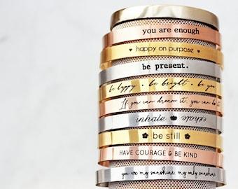 Personalized Cuff Bracelet - Mantra Cuff Bracelet, Inspirational Bracelet, Custom Bangle, Custom Cuff, Personalized Gift, Bangle - Thin Cuff