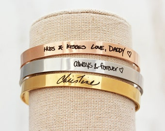 Handwriting Bracelet / Handwriting Jewelry / Actual Handwriting / Signature Cuff Bracelet / Memorial Gift / Personalized Bracelet - THIN