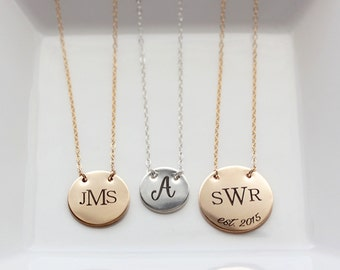 Personalized Disc Necklace - Engraved Disc Necklace, Date Necklace, Monogram Necklace, Initial Necklace, Personalized Gift, Gift for Her