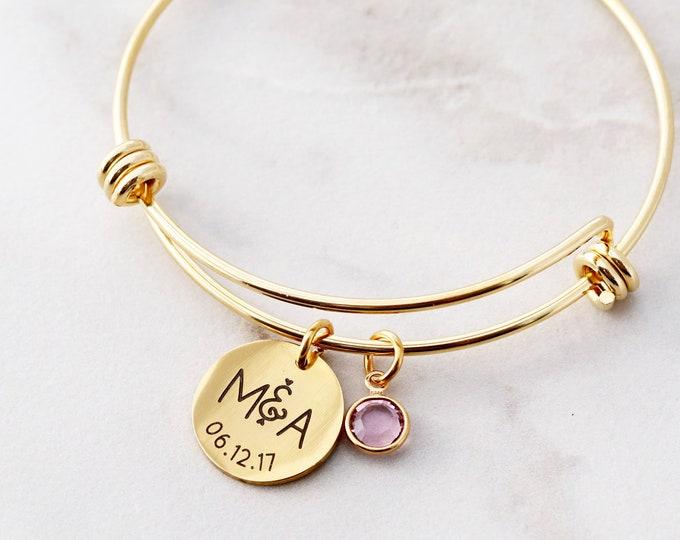 Date Bracelet / Initial Bracelet / Couples Bracelet / Personalized Date Bracelet / Date Bangle / Anniversary Wedding Gift / curved 16 SSD
