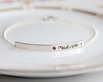 Engraved Birthstone Bracelet - Thin Personalized Bar Bracelet Custom Engraved Birthstone Bar Valentine gift for Her Gift for Mom BarBracelet