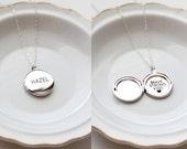 Personalized Locket Necklace Silver Locket Photo Locket Engraved Locket Necklace Personalized Jewelry Custom Locket MEDIUM MXE