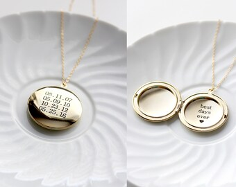 Personalized Locket Necklace - Silver Locket Engraved, Gold Locket Custom, Locket Necklace, Customized Locket, Mothers Day Necklace - LARGE