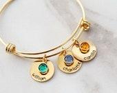 Birthstone Bracelet / Birthstone Charm Bracelet / Names Bracelet / Birthstone Bangle / Dangling Charms / Personalized Gift / curved 16 SSD