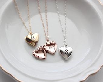 Heart Locket - Heart Locket Necklace, Locket, Personalized Heart Locket Necklace, Personalized Jewelry, Small Heart Locket, Flower Girl Gift