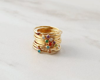 Birthstone Stacking Ring / Dainty Birthstone Ring / Birthstone Ring / Family Jewelry / Stacking Ring / Minimalist Ring / Stackable Ring  RNG