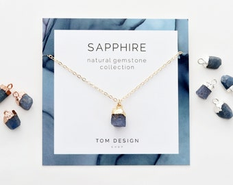 Crystal Raw Gemstone Natural Sapphire Personalized Jewelry September Birthstone Necklace /& Earring Jewelry Set