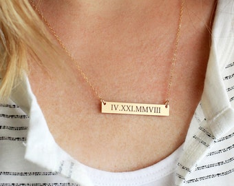 Gold Bar Necklace - Personalized Gift for Her, Engraved Bar Necklace Personalized Bridesmaid Gift, Personalized Gift for Her, Gift for Teen