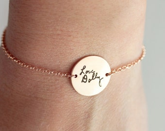 Handwriting Disc Bracelet - Engraved Signature Bracelet Gold Handwriting Bracelet Custom Bracelet Signature Handwriting Bracelet Handwritten