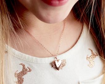 Children's Locket Necklace - Silver Heart Locket, Gold Heart Locket, Flower Girl Locket, Girls Locket Necklace, Locket Necklace for Girls