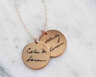 Double Disc Handwriting Necklace - Handwriting Necklace, Custom Engraved Signature Handwriting Necklace Gift for Mom Signature Handwritten