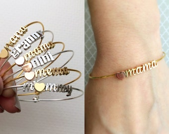 Mama Bracelet / Initial Charm Bracelet / Personalized Charm Bracelet / Mothers Day Gift / Mum Gift for Her / Personalized Initial Mom Gift