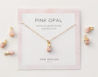 Raw Opal Necklace Pink Gemstone Birthstone October Birthday Gift For Her Bridesmaid