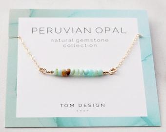 Opal Necklace Peruvian Gemstone Bar Birthstone October Birthday Gift For Her