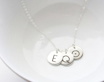 """1/2"""" Build Your Own Disc Necklace - Keepsake Personalized Initial Necklace Engraved Custom Personalized Mother Gift Wedding Initials"""