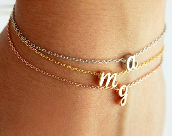 Cursive Initial Bracelet - Personalized Gift for Her Initial Letter Charm Bracelet Personalized Bridesmaid Gift Wedding Dainty CURSIVE CHM