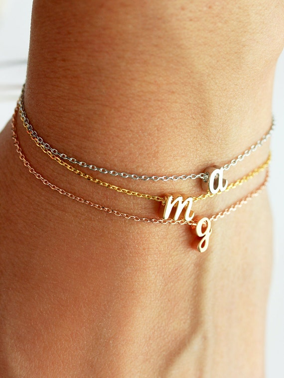 Personalized bracelet with hand stamped initial charm and heart charm gift for her initial bracelet