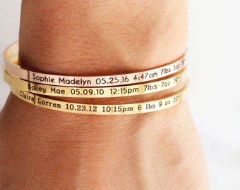 Birth Stats Bracelet / Baby Announcement / New Mom Gift / New Baby Gift / New Mother Gift / Stacking Layering / Baby Shower Gift, Skinny ECB