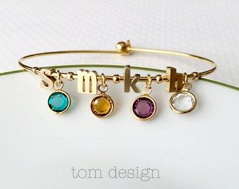 Birthstone Bracelet - Build Your Own - Birthstone Charm Bracelet, Initial & Birthstone Bracelet, Personalized Gift for Mom, Custom Gift Idea