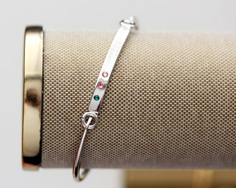Birthstone Bangle Bracelet - Personalized Birthstone Bangle Bracelet, Mother's Day Gift, SWING TOP SILVER Bar, Gift for Mom, Birthstones