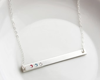 Birthstone Bar Necklace - Personalized Birthstone Necklace, Personalized Gift for Mom, Gold Bar Necklace, Personalized Gift for Mom, Thin