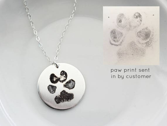 Paw Print Necklace / Dogs Paw Print Jewelry / Cats Paw Print / Engraved Paw  Print / Pet Memorial / Paw Print Pendant / Actual Paw Print