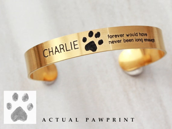 83bed732bc033 Actual Paw Print Cuff Bracelet - Engraved Paw Print, Engraved Pet Memorial,  Custom Cuff Bracelet, Personalized Pet Jewelry, Gift - Medium