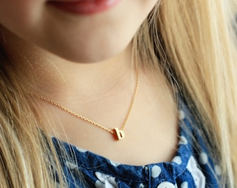 Initial Necklace / Children's Gold Initial Necklace / Kids Initial Necklace / Gift for Kids, Name Necklace, Flower Girl Gift LOWERCASE CHM