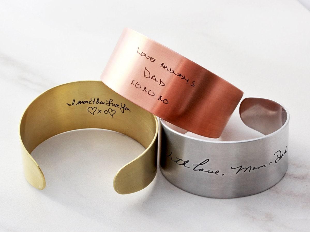 8f8d11ad24513 Handwriting Cuff Bracelet - Actual Engraved Handwriting, Personalized Cuff  Bracelet, Engraved Signature, Custom Cuff Bracelet - Thick Cuff